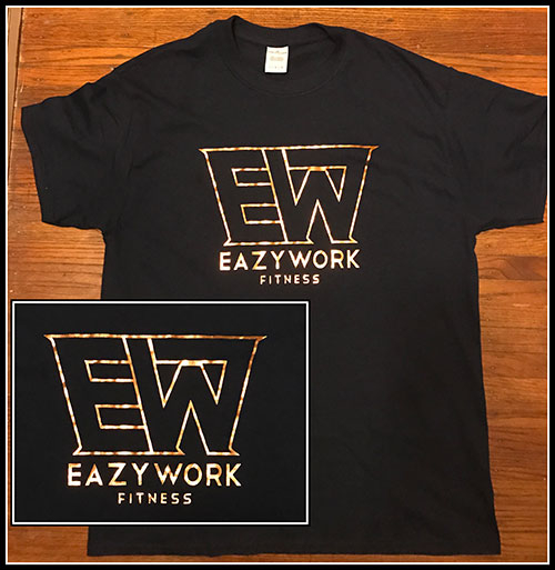 black t-shirt with metallic copper logo